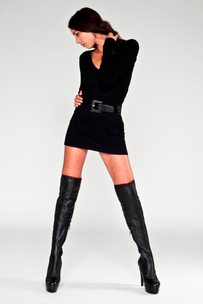 Arollo Leather Heeled Boots Arollolederoverkneestiefelshopplateaustiletto
