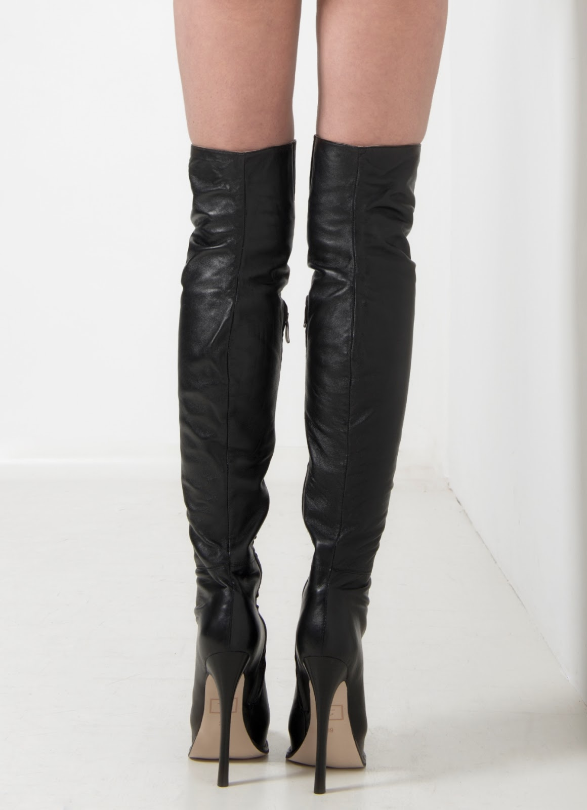 schwarze damen leder high heel boots sind 2013 und 2014. Black Bedroom Furniture Sets. Home Design Ideas