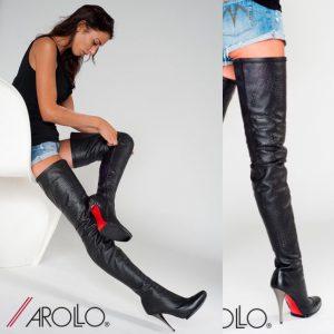 AROLLO Lange Overknee High Heel Stiefel Ferari